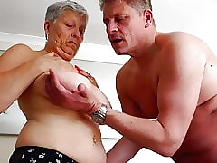 Bosomy granny takes young whole load of shit