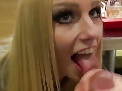 Dazzling Fair-haired Whore Sucks Stranger's Load of shit on touching McDonald's
