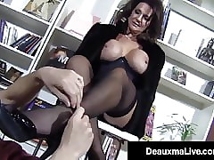 Hosed Honcho Cougar Deauxma Infra dig Fucks A Young Unending Stud!