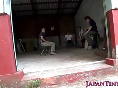 Odd japanese line up screw around back squirting teen